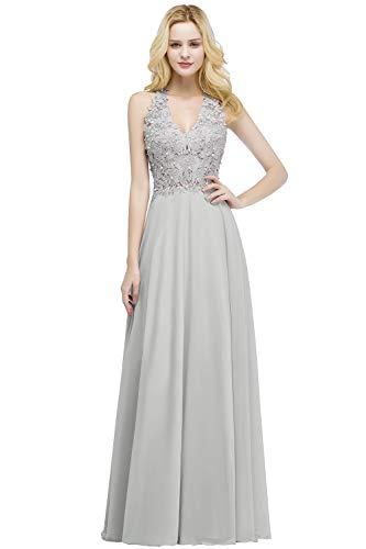 Babyonlinedress Pearl Beaded Sleeveless Long Wedding Guest Dresses,Silver,12