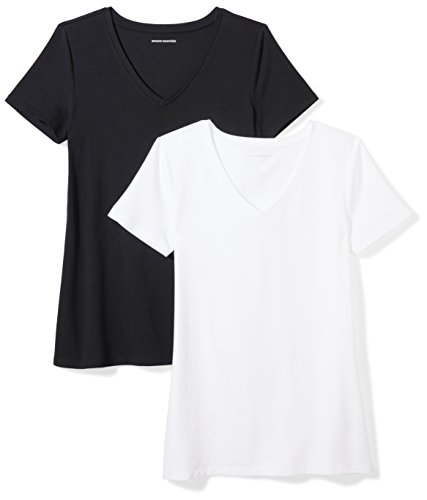 Amazon Essentials Women's 2-Pack Short-Sleeve V-Neck Solid T-Shirt, Black/White, Medium (White Black Clothing Womens)