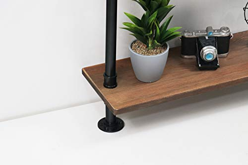 KINMADE Industrial Pipe Shelf Wall Shelf Rustic Wood with Black Iron Pipe 6 Tier by KINMADE (Image #2)