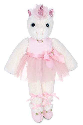 Bearington Dreamer White Plush Stuffed Animal Ballerina Unicorn in Pink Ballet Outfit, 14 Inches from Bearington Collection