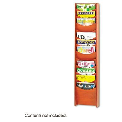Safco - Solid Wood Wall-Mount Literature Display Rack 11-1/4 X 3-3/4 X 48-3/4 Cherry ''Product Category: Office Furniture/Display Racks & Cases''