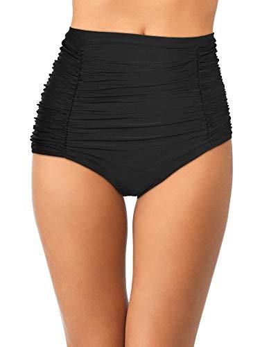 (Women's Retro Swim Bottoms High Waist Ruched Bikini Bottom Tankini Swimsuit Shorts for Vocations (Black 1, XL Size))