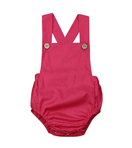doublebabyjoy Newborn Baby 1 Piece Summer Romper Baby Girl Boy Solid Color Jumpsuit Sleeveless Backless Overalls Outfits (Rose Red, 12-18 - Overall Rose