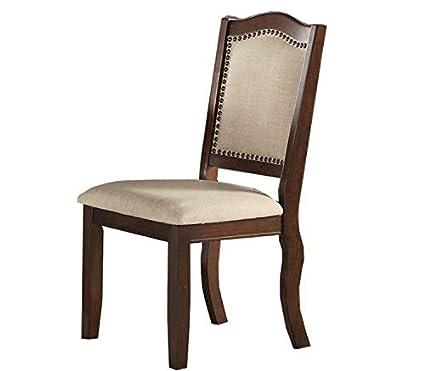 Amazon.com: Juego de 2 sillas de comedor modernas de piel ...