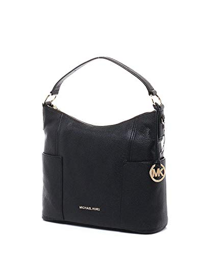 Women's Michael Kors Large Convertible Shoulder Handbag Crossbody Pebbled Leather Black
