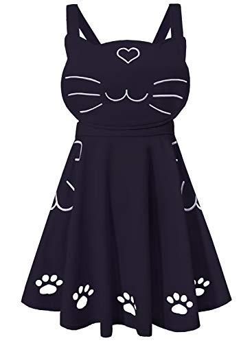 Doballa Women's Ajustable Suspender Love Heart Cat Face Embroidered Cute Paw Hollow Out Lolita Strap Skirt with Pockets -