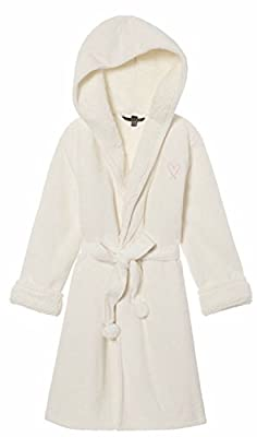 Victoria's Secret Ivory Sherpa Lined Cozy Plush Pom Pom Robe- M/L