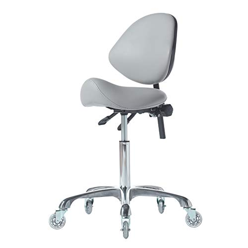 FRNIAMC Hydraulic Saddle Rolling Adjustable, Heavy-Duty (350 lbs) Stool Chair for Beauty Salon Massage Dental Clinic Office (Grey)