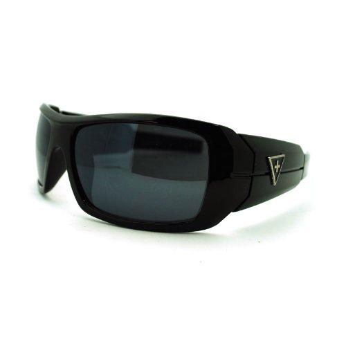 Mens Rectangular Biker Warp Sport Thick Temple Skater Sunglasses - Glasses Skater