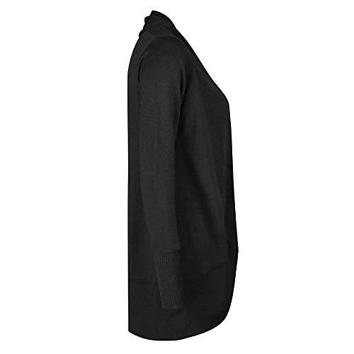 Elegante Fine Stlie Monocromo Outwear Cappotto Schwarz Aperto Autunno Giacca Asimmetrico Donna Giubbino Lunghe Casual A Grazioso Maniche Maglia Moda Forcella Primaverile Comodo C44tPaqw