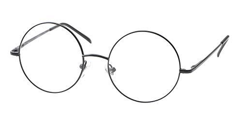 SOOLALA Cool Retro Round Metal Frame Spring Hinged Reading Glasses for men and Women, Black,+1.5D ()