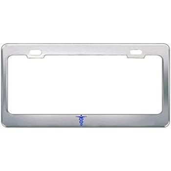 PEACE LOVE PAWS Chrome Steel Heavy License Plate Frame Tag Border
