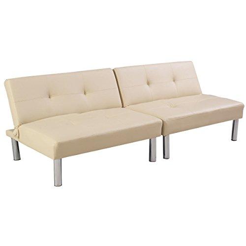 Giantex Folding PU Leather Futon Convertible Sofa Sleeper Be