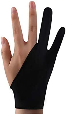 AHNUNVA グローブ 二本指 お絵描き手袋 誤動作防止 摩擦軽減 防汚 超軽量 男女兼用 3サイズ 左利き・右利き通用 便利 通気性 手袋 ペンタブレット S/M/L ブラック