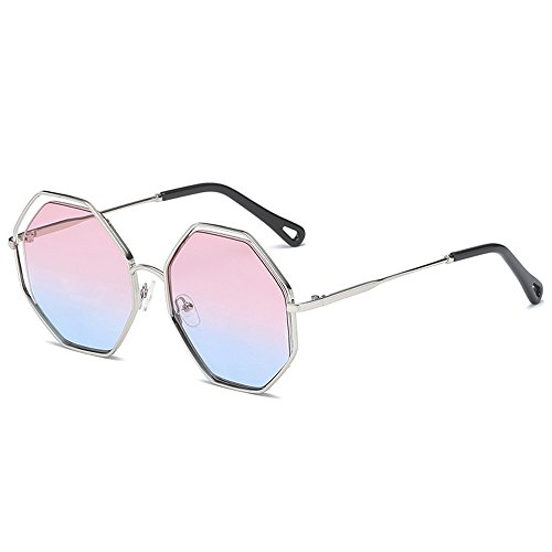 Unisex Travel Luxury Metal On Polygonal Frame pink Fashion Sunglasses Sunglasses Ptotection Eyewear UV Blue Sunglasses Silver Lens Personality Outdoor Frame Retro Pw1qrgP