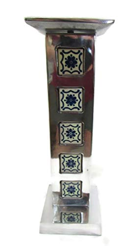 Solid Mexican Pewter & Talavera Candlestick Hand Cast in Mexico City Rustic Folk Art (5-TILE - 11.5