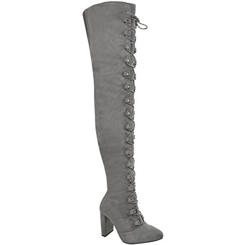 Fashion Thirsty Womens Ladies Thigh High Over The Knee Boots Lace Up Block Heels Winter Shoes UK Grey Faux Suede