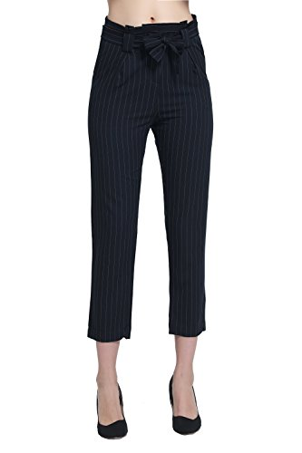 Women's Tie Closure Ankle Length Pinstripe Trousers (m, (Bum Bum Trousers)