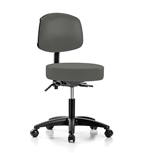 PERCH Walter Rolling Height Adjustable Doctor's Stool with Back for Hardwood or Tile | Desk Height | 300-Pound Weight Capacity | 12 Year Warranty (Charcoal Vinyl) (Physician Adjustable Stool)