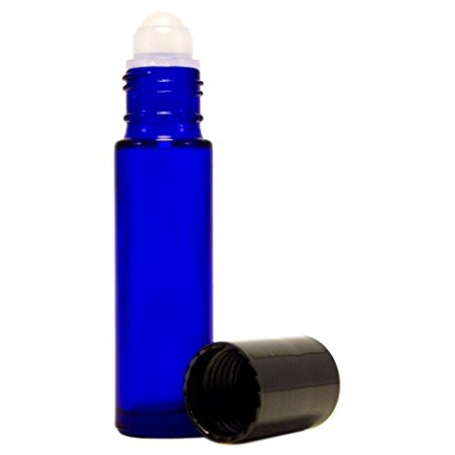 10ml Aromatherapy Cobalt Blue Glass Roll On Bottle for Essential Oils with Black Cap