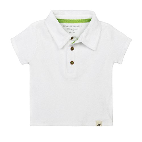Burt's Bees Baby Boy's T-Shirt, Short Sleeve V-Neck and Crewneck Tees, 100% Organic Cotton, Cloud Knit Terry Polo, 0-3 Months