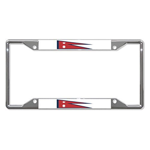 Nepal Flag Country Metal License Plate Frame Tag Holder Four Holes Perfect for Men Women Car garadge Decor ()
