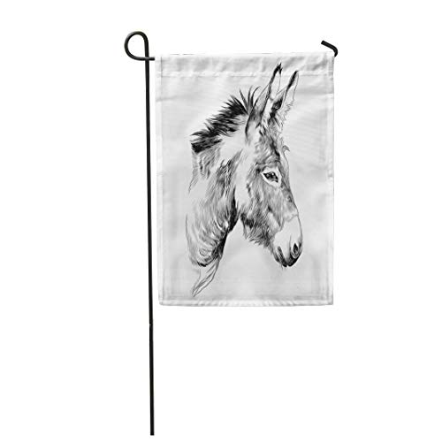 Semtomn Garden Flag 28x40 Inches Print On Two Side Polyester Brown Mule Donkey Sketch Graphics Monochrome The Head Horse Home Yard Farm Fade Resistant Outdoor House Decor Flag ()