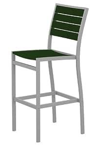 polywood a102fasgr Euro Bar Side silla, con textura plata/verde