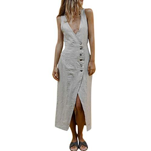 Women's Sexy Linen Dresses Summer Deep V Sleeveless Maxi Dress Casual High Waisted Slimming Side Button Split Long Dress (Gray, XL)