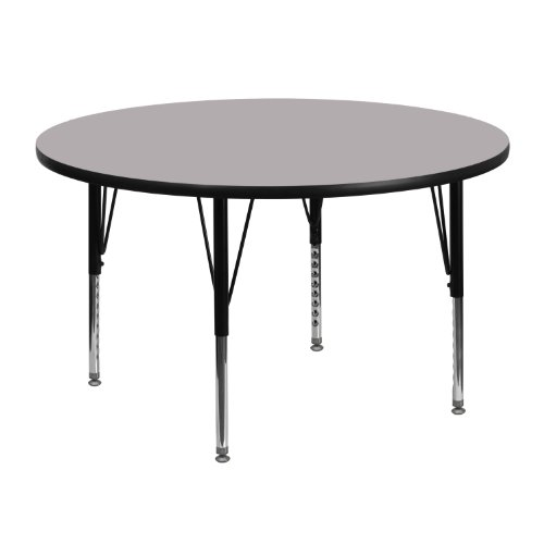 Flash Furniture 48'' Round Grey Thermal Laminate Activity Table - Height Adjustable Short Legs