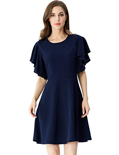 (Aphratti Women's Flutter Sleeve A Line Swing Flare Skater Cocktail Party Dress Navy Large)