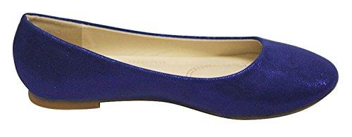 Bella Marie Donna Classica Sparkle Glitter Scintillio Punta Chiusa Slip On Balletto Flat Navy