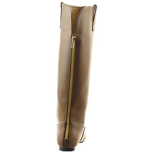Sopily - Scarpe da Moda Stivali - Scarponi al polpaccio donna Tacco a blocco 1 CM - soletta sintetico - Khaki