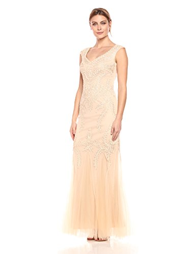 Cachet Women's V Neck Ribbon Lace Gown, Champagne, 4