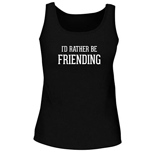 BH Cool Designs I'd Rather Be Friending - Cute Women's Graphic Tank Top, Black, Small (Scrabble Best Word Finder Board)
