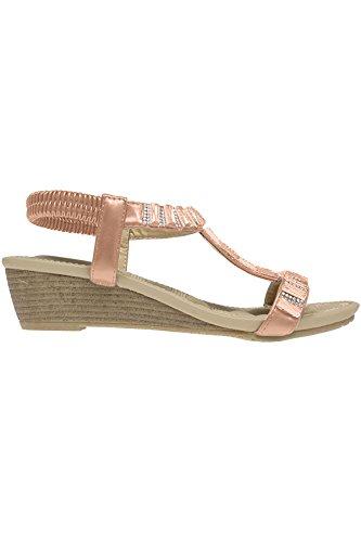 Saphir Boutique jlh877 Reynolds Damen Glitzersteine Jewell Elastisch T-Riemen Keilabsatz Sandalen - Weiß, 4 UK