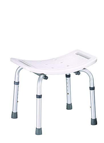 Taburete de Ducha ANTIDESLIZANTE con Asiento Ergonómico Silla de Ducha Aluminio Regulable en Altura Ligero
