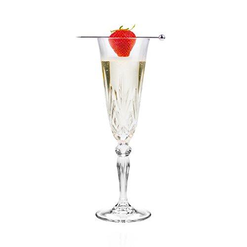 RCR Melodia Crystal Champagne Flutes Glasses, 6oz, Set of 6