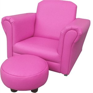 Pink pu leather rocking chair armchair kids childrens with for Childrens rocking chair with footstool