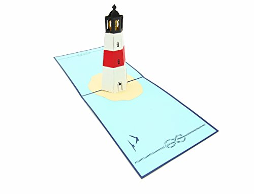 PopLife Lighthouse Island 3D Pop Up Greeting Card for All Occasions - Travellers, Coastal and Adventure Lovers - Folds Flat for Mailing - Birthday, Mother's Day, Graduation, Retirement, Anniversary