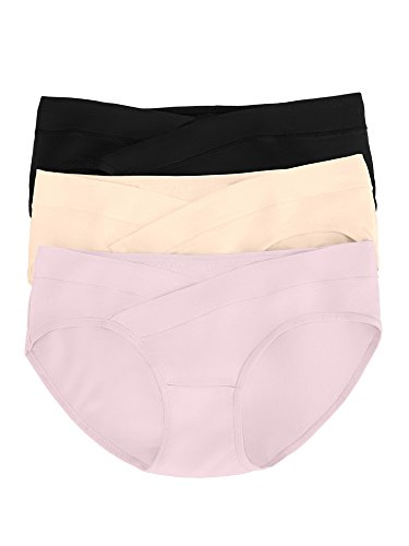 Kindred Bravely Under The Bump Maternity Underwear/Pregnancy Panties - Bikini (Large, Assorted, 3 Pack)