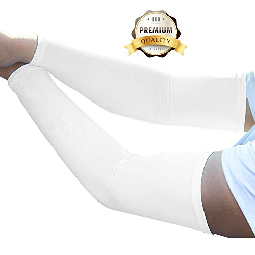 JueDi Sun Sleeves Cool Ice Long Large Arm Sleeves Uv Protection for Youth&Adult Men&Women Outdoor Sports Golf Cycling Driving Gardening Fishing Running SPF50+ 1Pair White M