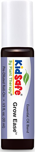 Plant Therapy KidSafe Grow Ease Synergy Pre-Diluted Essential Oil Roll-On. Ready to use! Blend of: Juniper Berry, Rosalina, Spruce, Turmeric and Blue Tansy. 10 ml (1/3 oz)