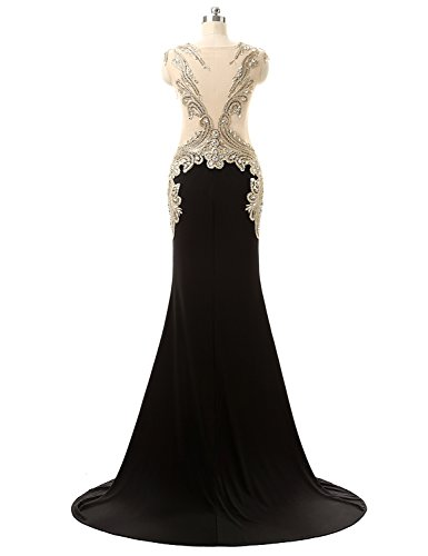 Formal Long Evening 2018 Dresses Dresses Belle Women for Prom black House Party Beaded Dress Yd003 WYWpnf