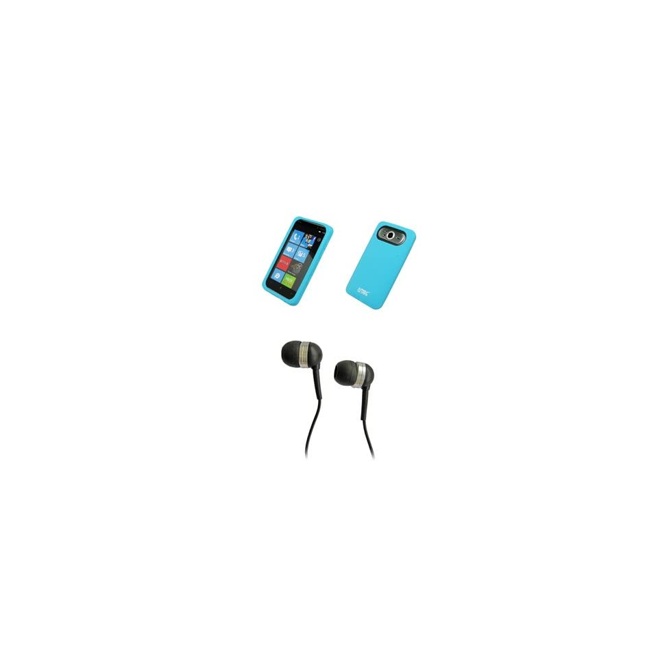 EMPIRE Light Blue Silicone Skin Cover Case + Stereo Hands Free 3.5mm Headset Headphones for T Mobile HTC HD7