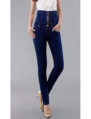 YFLTZ Pantalon Jeans Femme - Rivet Couleur Unie Blue