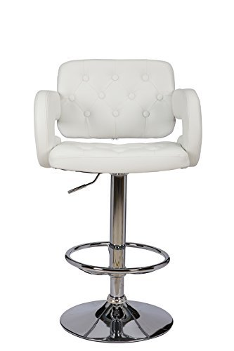 separation shoes ce366 0bfa5 ViscoLogic Series WESTMINSTER 22 inch Wide, Height Adjustable Leatherette  360 Swivel 24 to 33 inch Bar Stool with Button Tufted Quilted Upholstered  ...
