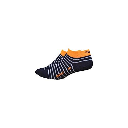DeFeet Women's AirEator 1in Sailor Navy/White/Hi-Vis Orange Cycling/Running Socks (Navy/White/Hi-Vis Orange - S)