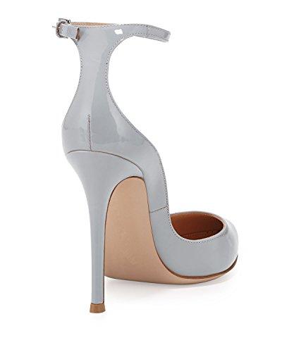 Scarpe Donna Scarpe Chiusa con donna Col cinturino caviglia Soireelady Tacco alla Grigio da Punta Scarpe qw8FCRtz