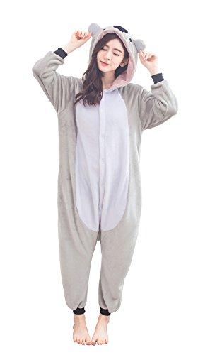 LongxingKWomens-Cosplay-Flannel-Anime-Cartoon-Onesie-Adult-Pajamas-Koala-bear-gray